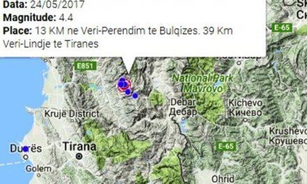 Tërmet me magnitudë 4.4 në verilindje të Shqipërisë