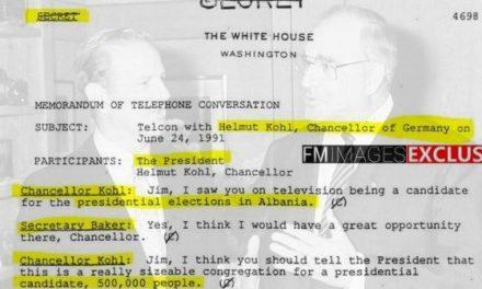 Eksluzive: Biseda sekrete James Baker më Helmut Kohl për Shqipërinë në vitin 1991