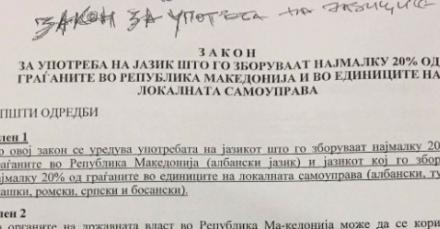 Ja propozim-ligji i ri për përdorimin e gjuhë shqipe në gjithë territorin e Maqedonisë (Dokument)